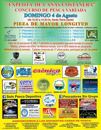 Explota de cañas costanera - Domingo 4 de Agosto - Concurso de pesca variada